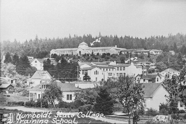 historical photo of founders hall when it was Humboldt State College