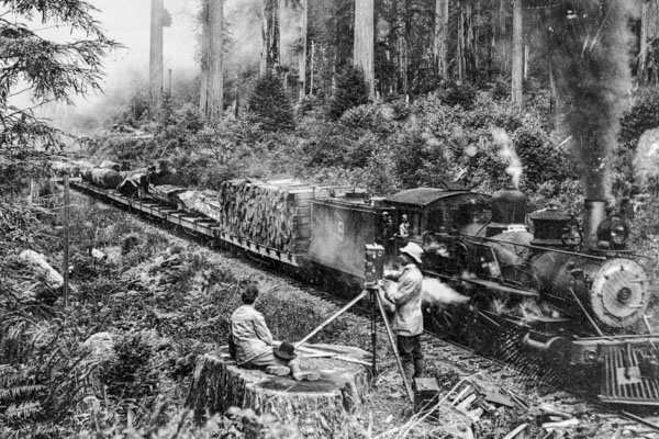 black and white image of a photographer taking a photo of a man on a redwood tree stump next to a train on the train tracks