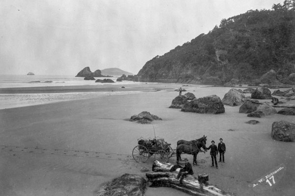 historical black and white image of moonstone beach