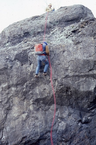 A rock climber at Moonstone Beach in 1979