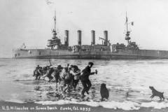 black and white image of US Milwaukee on Samoa beach