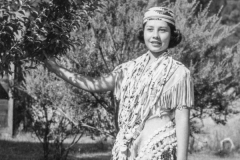 black and white image of a young Native American lady
