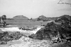 historical black and white photo from a beach towards Trinidad head